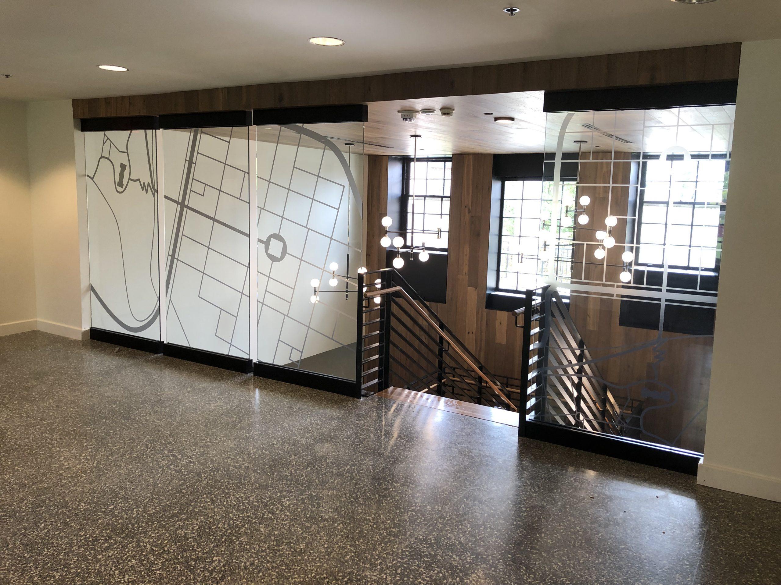 Custom Decorative Glass Film for Lafayette College in Easton, Pennsylvania